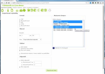 Export dat z online dotazníku