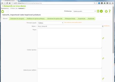 Vytvoření nového online dotazníku